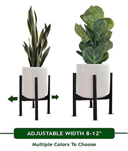 MT Decor Mid Century Plant Stand | Adjustable Modern Indoor Plant Holder | Fits Medium to Large Planters Sizes 8 9 10 11 12 inches | Pot and Plant - -