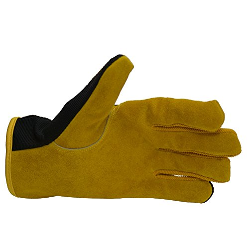 Men Work Gloves for Gardening, Mechanics, Construction, Driver, Cowhide Leather Palm, Dexterity Breathable Design by HANDLANDY (Image #5)