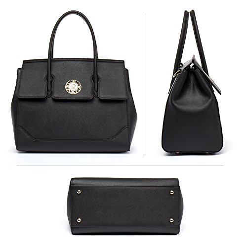 Crossbody Tote Handbags Leather Bag Shoulder Purse Satchel Cluci for Women black 6 f8XwqUxA