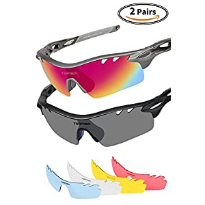 Polarized Sports Sunglasses 2 Pairs Mens Sport Sunglasses with 4 Interchangeable Lenses, Tr90 Unbreakable Sunglasses for Men Women Cycling Driving Running Golf Sunglasses By Tsafrer (Black-Red-Blue 6)