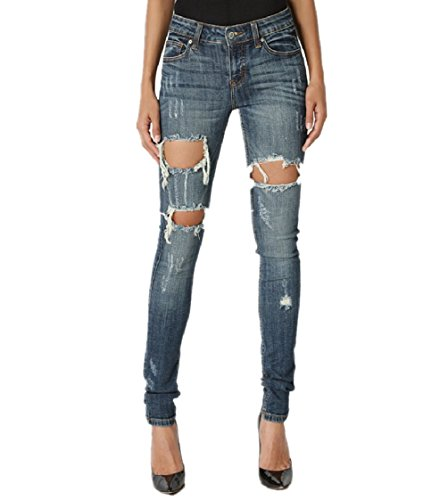 Dustin Clothes Large Cutout Shreded Destructed Distressed Dark Blue Skinny Jeans