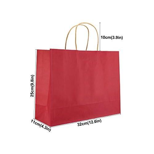 Best Fiveseasonstuff 24 Piezas Grande Rojo Bolsas De Papel Kraft Con