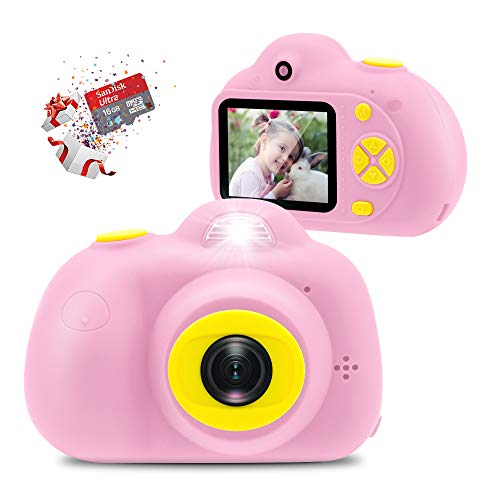 Veroyi Kids Camera with 16GB Micro SD Card 8MP Rechargeable Digital Front and Rear Selfie Camera with 2 Inches Screen Child Camcorder Toys Gift for 4-10 Years Old Boys and Girls(Pink)
