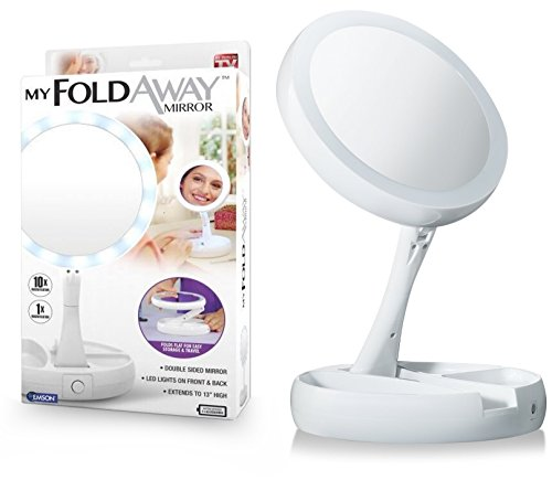 Emson My Foldaway Mirror The Lighted, Double Sided Vanity Mirror 10x Magnification - As Seen on TV!, White  ()