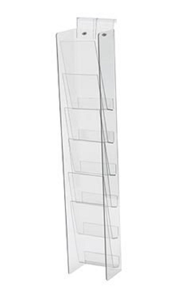 6-Tier Clear Acrylic Brochure Holder for Slatwall or Wire Grid