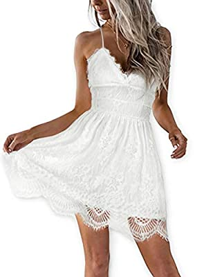 AOOKSMERY Women Summer V-Neck Spaghetti Straps Lace Backless Party Club Beach Mini Dresses