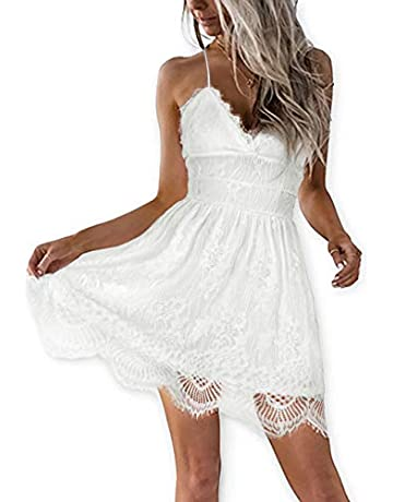 e3aab7e7b92 AOOKSMERY Women Summer V-Neck Spaghetti Straps Lace Backless Party Club  Beach Mini Dresses