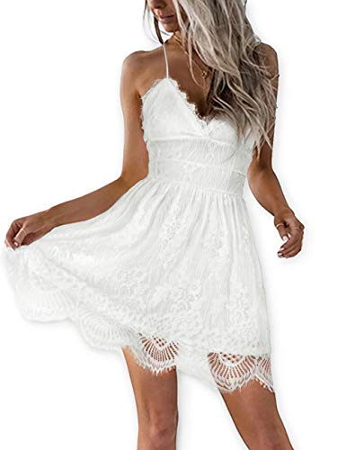 AOOKSMERY Women Summer V-Neck Spaghetti Straps Lace Backless Party Club Beach Mini Dresses (White, ()