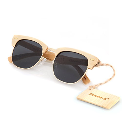 Bamboo Wood Wooden Sunglasses by Shaderz - Vintage Retro Classic 100% Natural Eco Friendly Handcrafted Lightweight Club Unisex Half Semi-Rimless Rimmed Frames - Pouch Included - CM - People Bans On Ray