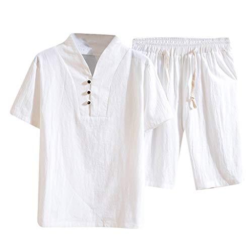 Lefthigh Men's Cotton and Linen Short Sleeve Shorts Set Suit Tracksuit Summer Fashion White ()