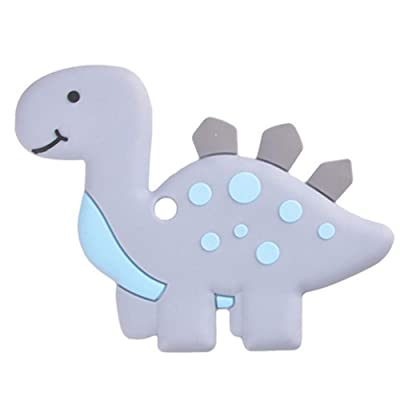 856store-Lovely Animal Dinosaur Soft Silicone Teether Baby Newborn Teething Chew Toy - Grey: Jewelry