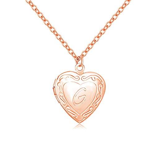 SENFAI Initial Alphabet Letter Heart Shaped Photo Frame Memory Locket Pendant Necklace 18