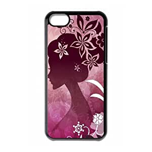 iPhone 5c Cell Phone Case Black Woman with Flowers BNY_6875656