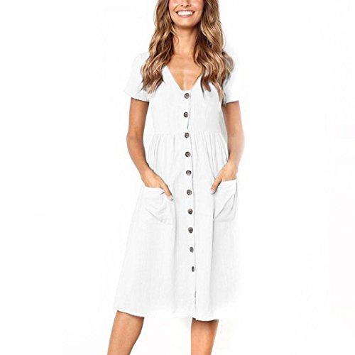 56d930b9ae30 PAOLIAN Kleider Sommerkleid Damen Schulterfrei Ärmelloses Kleid Strandkleid  Prinzessin Midi Kleid Beiläufig Knielang Partykleid Weiß-