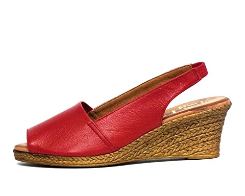 Sandalia piel Oh! my Sandals 3300 Cuña Rojo