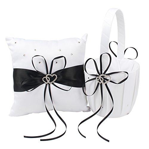 OurWarm Flower Girl Basket & Ring Bearer Pillow Double Heart Rhinestone Buckle Decor Black Ribbon Bowknot Rustic Elegant Wedding Ceremony Party (Hearts Satin Ribbon)