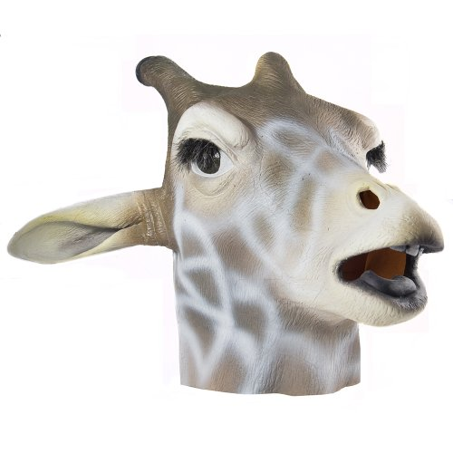 HMS Giraffe Realistic Animal Mask, Brown, One Size -