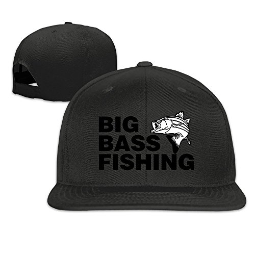 Big Bass Fishing Funny Fishing Adjustable Caps Flat Bill Baseball Caps (Black 22' Bass)