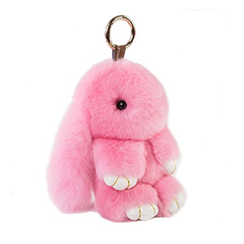 HXINFU Real Rabbit Fur Ball Keychain Bag Plush Pom Poms Fluffy Bunny Keychain