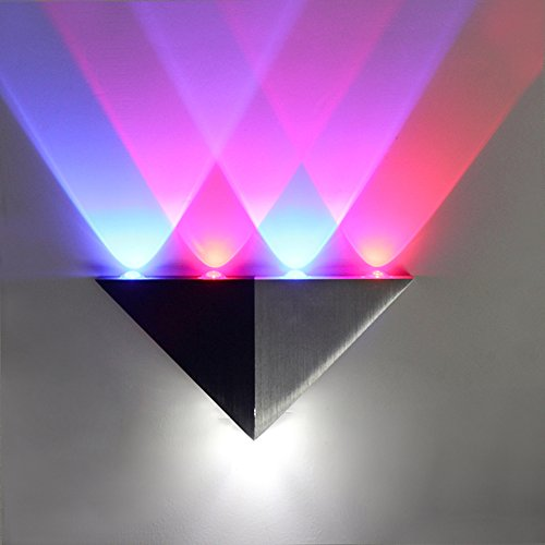 Lemonbest Modern 5W Triangle LED Wall Sconce Light Fixture Indoor Hallway Up Down Wall Lamp Spot Light Aluminum Decorative Lighting for Theater Studio Restaurant Hotel Multi-colored