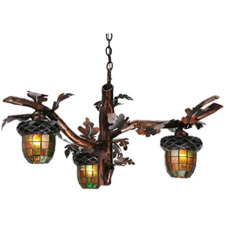 Meyda Tiffany Custom Lighting 113923 Acorn Branch 3LT Chandelier, Burnished Transparent Copper Finish with Multi-Toned Green and Brown Art Glass, 40