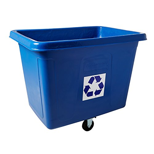 Rubbermaid Commercial Recycling Cube Truck, Rectangular, Polyethylene, 500-Pound Capacity, Blue (461673BE) ()