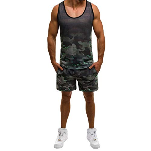 GREFER-Mens Mens Sport Suit Fashion Camo Sleeveless Tank Top+Short Pants Shorts Sets Tracksuits with Pockets