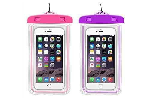 Waterproof Case, 2 Pack Three Legs Clear Universal Waterproof Case, Dry Bag, Pouch, Transparent Snow proof Dirt proof for iPhone 6S Plus 5S 5C, Samsung Galaxy S7 S6 edge, Note 5 4 3 (Pink, Purple)