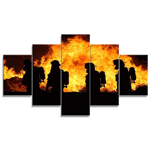 - VIIVEI Firefighters Wall Art Canvas Prints Art Home Decor Decals Gifts for Living Room Office Bedroom Modern Pictures Pictures 5 Panel Posters HD Printed Painting Framed Ready to Hang (50