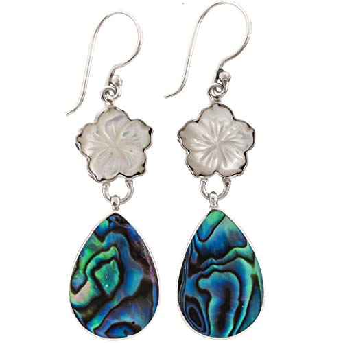 Abalone Shell French Wire - White Mother of Pearl Flower Paua Abalone 925 Sterling Silver Drop Earrings,1 5/8