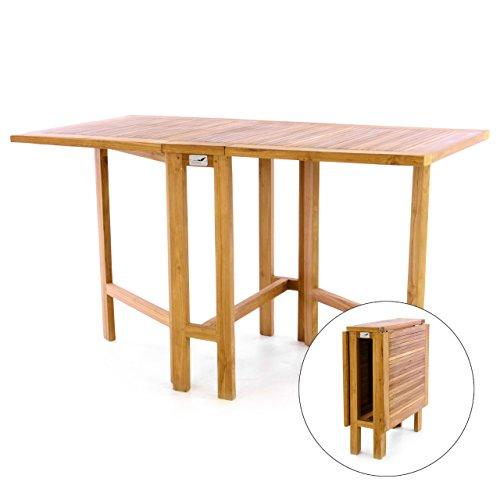 DIVERO GL05527 Klapptisch Balkontisch Gartentisch Esstisch Holz Teak Tisch für Terrasse Balkon Wintergarten witterungsbeständig behandelt massiv klappbar 130x65 cm natur