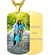 FindChic Dog Tags Personalized Necklace for Men with Silencer Custom Text Engraved/Print Photo Mi...