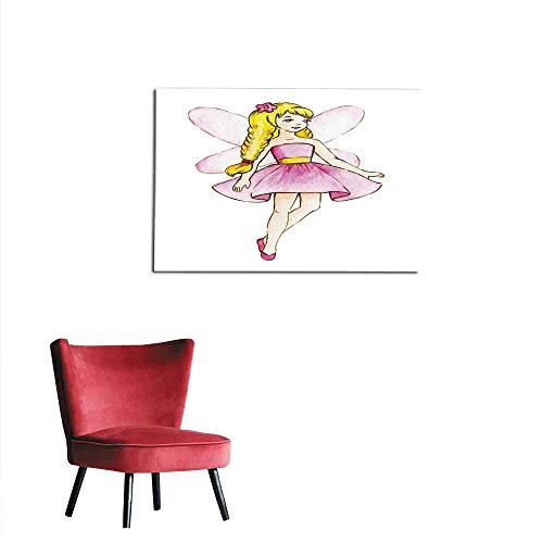 homehot Wall Sticker Decals Little Cute Magic Fairy Watercolor Illustration Kids Clipart Mural 28