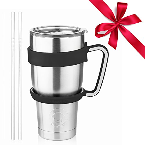 (Stainless Steel Tumbler Travel Mug - 30 Oz Tumbler Insulated Coffee Mug with Removable Handle No-Spill Lid and 2 Stainless Steel Straws (Black Grip))