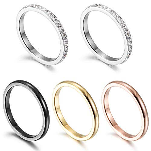 Wistic 5PCS Knuckle Stacking Rings Gold Silver Plated Stainless Steel Midi Rings Set for Women Girls Fashion Finger CZ Ring (Black+Red+Gold+White+White, 9) ()