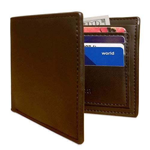 Large Mens Wallet with ID Window - Slim Bifold Wallets for Men - Black Leather Billfold For Men By Kunida Designs