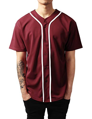 Ma Croix Mens Premium Baseball Jersey Active Button Shirt Team Uniform (Medium, 1up01_Burg.WHI) ()