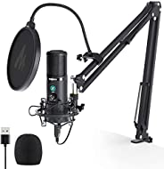 USB Condenser Microphone with One-Touch Mute and Gain Knob MAONO AU-PM421 Professional Cardioid Podcast Mic fo