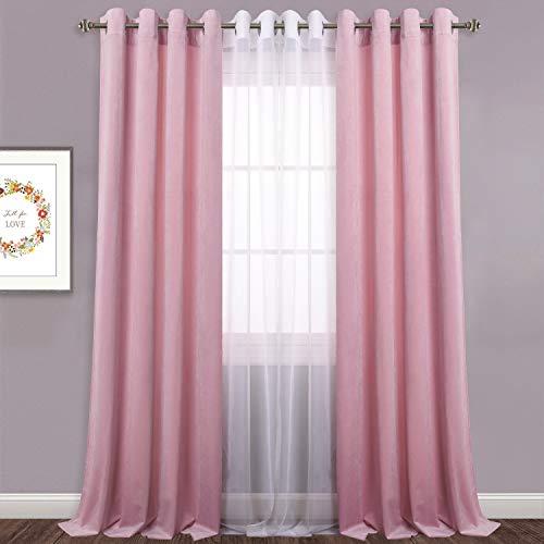 - Pink Velvet Drapes for Kids Room - Heavy Duty Thick Velvet Curtains Soften Light Privacy Curtain Panels for Infant Room/Nursey, Pink, 52
