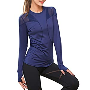 539156561 UDIY Women s Long Sleeve Active Running T-Shirt with Thumb ...