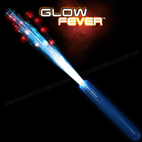 - Glow Fever Light Up Fiber Optic Stick Glow Wand LED Magic Wand, Birthday Wedding Favors Glow Party Supplies Christmas Halloween Decor, 12pcs(Blue-Red)