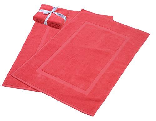 HILLFAIR 900 GSM-Hotel-Spa Tub-Shower Bath Mat Floor Mat - (2 Pack, Coral, 21 Inch by 34 Inch) - 100% Ringspun Cotton Bath Mat/Bath Rugs,Machine Washable Cotton Bath Mats - Terry Bath Mats/Rugs