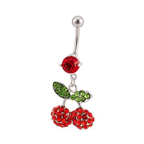 Dynamique Dangling Cherries Multi-Gem Belly Button Navel Ring