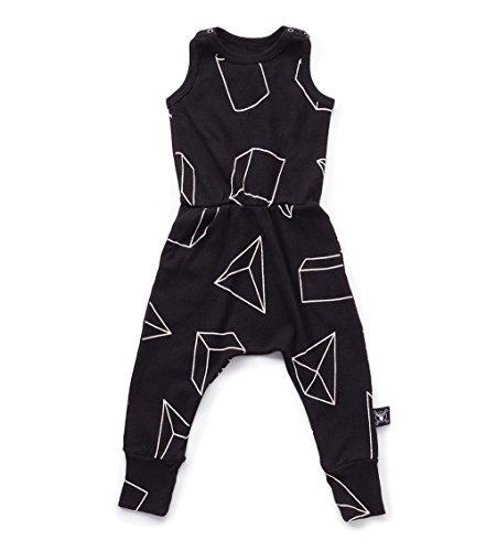 Nununu Geometric Romper in Black, 3Y/4Y