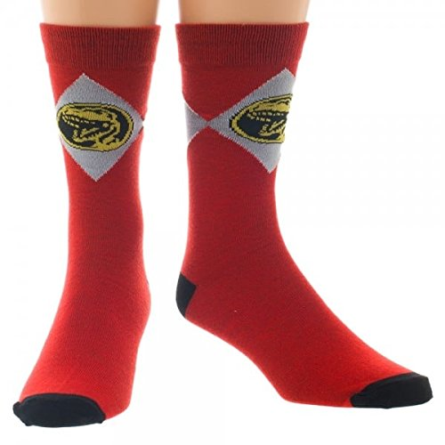 Red Mighty Morphin Power Rangers Crew Socks