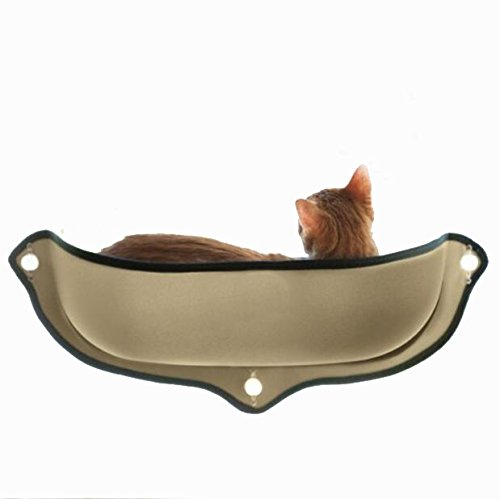 Winnii Cat Hammock Window Mounted Cat Bed Hammock Sofa Mat Cushion Hanging Shelf Seat with Suction Cup (Brown) by Winnii