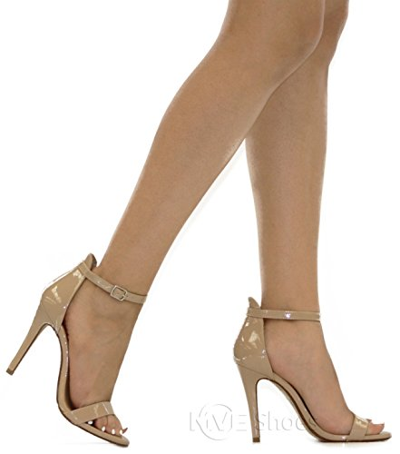 Pat Strap Chunky Ankle Women's Heeled t Beige Sandals MVE Fashion Shoes qFwzxwaBI
