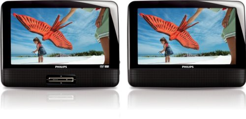 Philips PD9012/37 9-Inch LCD Dual Screen Portable DVD Player, Black
