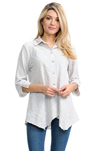 Focus Fashion Women's Cotton Voile Wave Embroidery Tunic Shirts-EC104 (Medium, ()