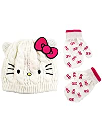 Hello Kitty Little Girls Toddler Beanie Hat & Mitten Set, White, One Size